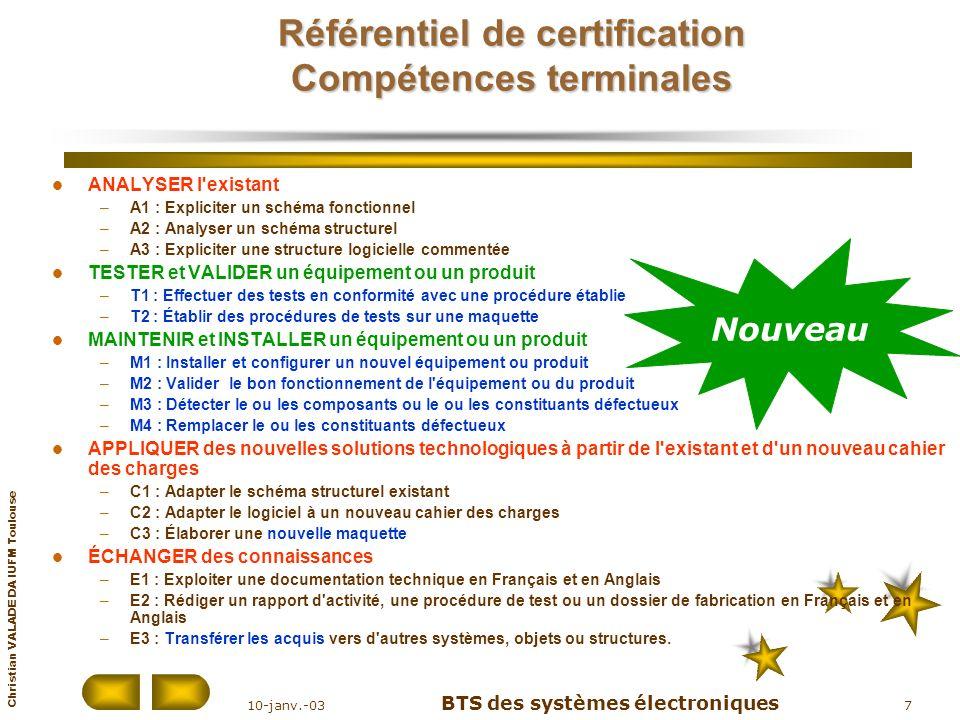 Christian VALADE DA IUFM Toulouse 10-janv.-03 BTS des systèmes électroniques 18 Règlement de lexamen Épreuves obligatoires ÉpreuvesUnitésCoef.FormeDuréeÉvaluation en cours de formation E1 : Expression françaiseU 12Écrite4 h4 situations dévaluation E2 : MathématiquesU 22Écrite3 h3 situations dévaluation E3 : Anglais U 3 11 11 Écrite Orale 2 h 20 mn 2 situations E4 : Étude dun système technique Électronique U 4.14Écrite4 h Forme ponctuelle Physique appliquée U 4.24Écrite4 h E5 : Intervention sur système techniqueU 54Pratique et orale 4 h (2 + 2)2 situations dévaluation E6 : Épreuves professionnelles de synthèse Stage en entreprise U 6.11Orale30 mn (10 + 20) 1 situation dévaluation Projet technique U 6.25Orale1 h 3 situations dévaluation Épreuve facultative EF1 : Langue vivante étrangère (1)U F11Orale20 mn