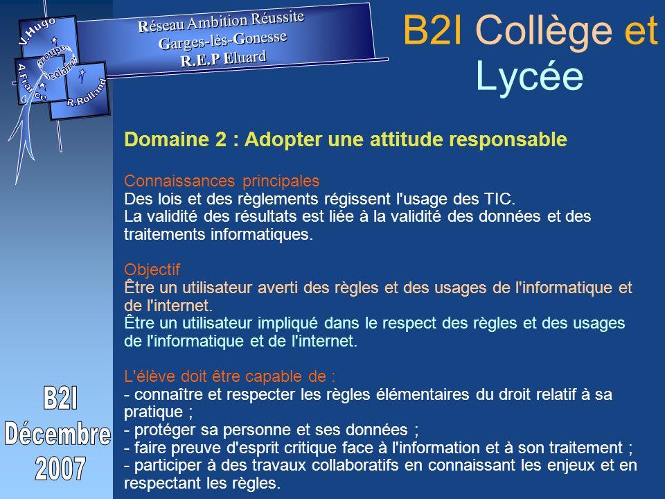 Domaine 2 : Adopter une attitude responsable Connaissances principales Des lois et des règlements régissent l usage des TIC.