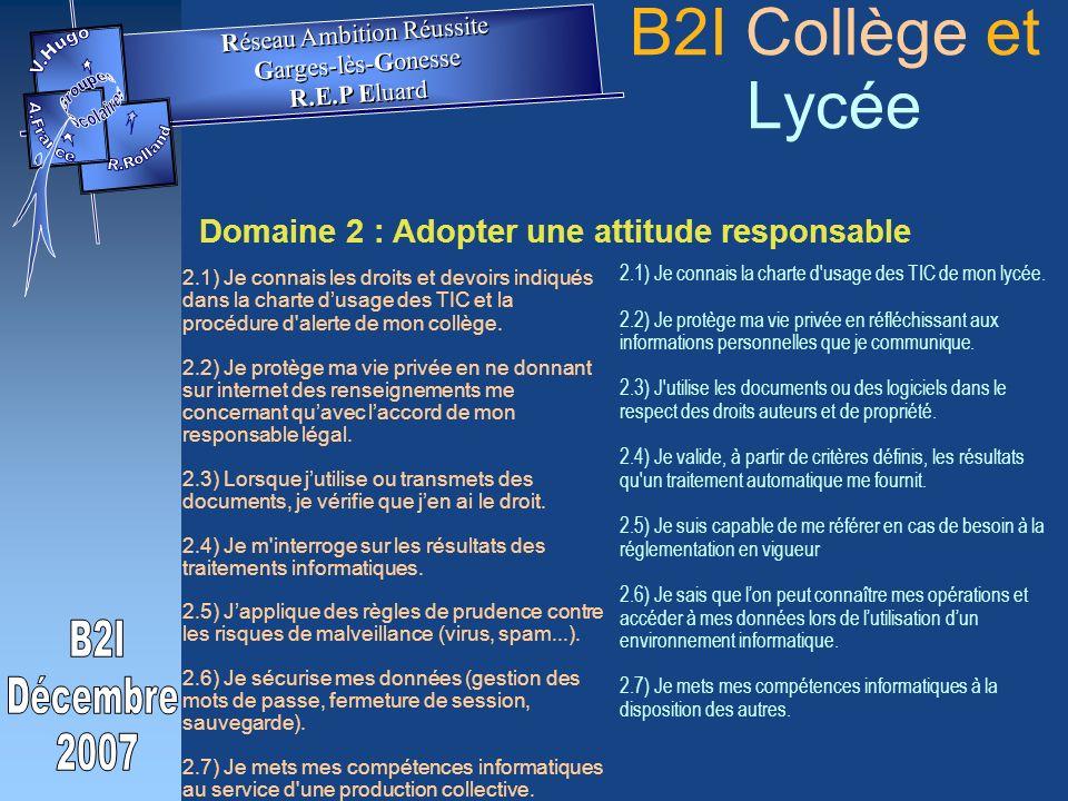 Domaine 2 : Adopter une attitude responsable 2.1) Je connais les droits et devoirs indiqués dans la charte dusage des TIC et la procédure d alerte de mon collège.