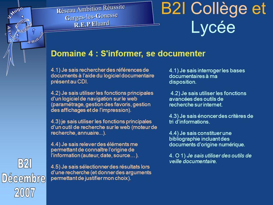 Domaine 4 : S informer, se documenter 4.1) Je sais rechercher des références de documents à laide du logiciel documentaire présent au CDI.
