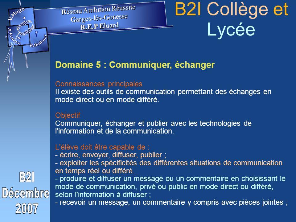 Domaine 5 : Communiquer, échanger Connaissances principales Il existe des outils de communication permettant des échanges en mode direct ou en mode différé.
