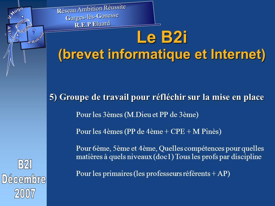 5) Groupe de travail pour réfléchir sur la mise en place Pour les 3èmes (M.Dieu et PP de 3ème) Pour les 4èmes (PP de 4ème + CPE + M Pinès) Pour 6ème, 5ème et 4ème, Quelles compétences pour quelles matières à quels niveaux (doc1) Tous les profs par discipline Pour les primaires (les professeurs référents + AP) Le B2i (brevet informatique et Internet) Réseau Ambition Réussite Garges-lès-Gonesse R.E.P Eluard Réseau Ambition Réussite Garges-lès-Gonesse R.E.P Eluard
