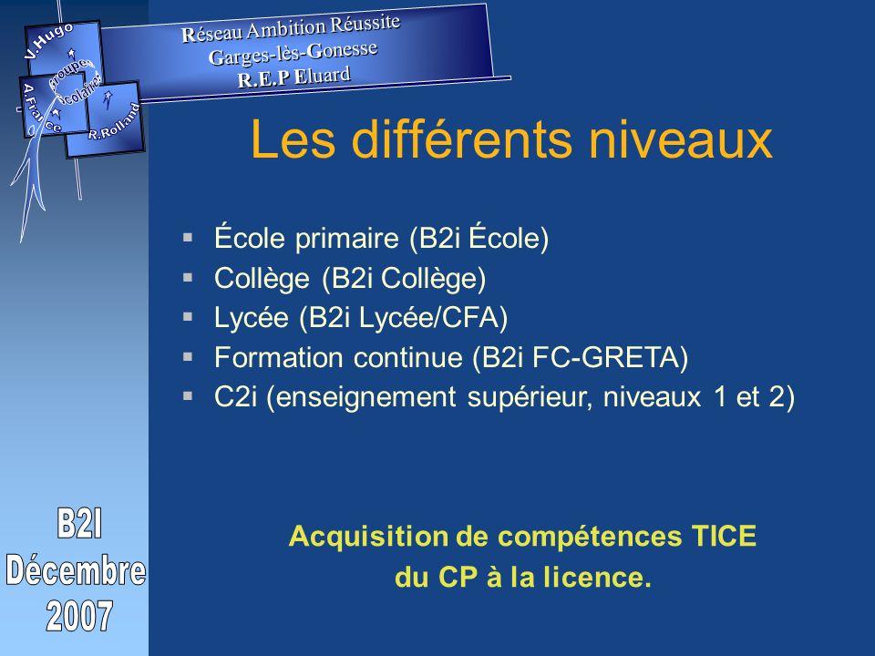 Les différents niveaux École primaire (B2i École) Collège (B2i Collège) Lycée (B2i Lycée/CFA) Formation continue (B2i FC-GRETA) C2i (enseignement supérieur, niveaux 1 et 2) Acquisition de compétences TICE du CP à la licence.