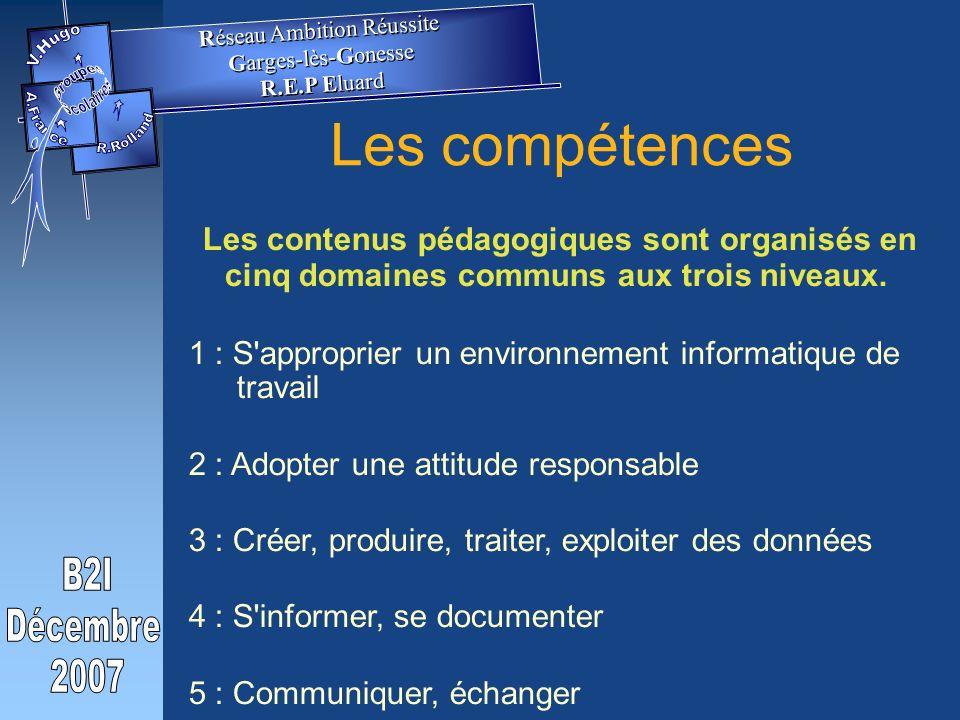 Les compétences Les contenus pédagogiques sont organisés en cinq domaines communs aux trois niveaux.
