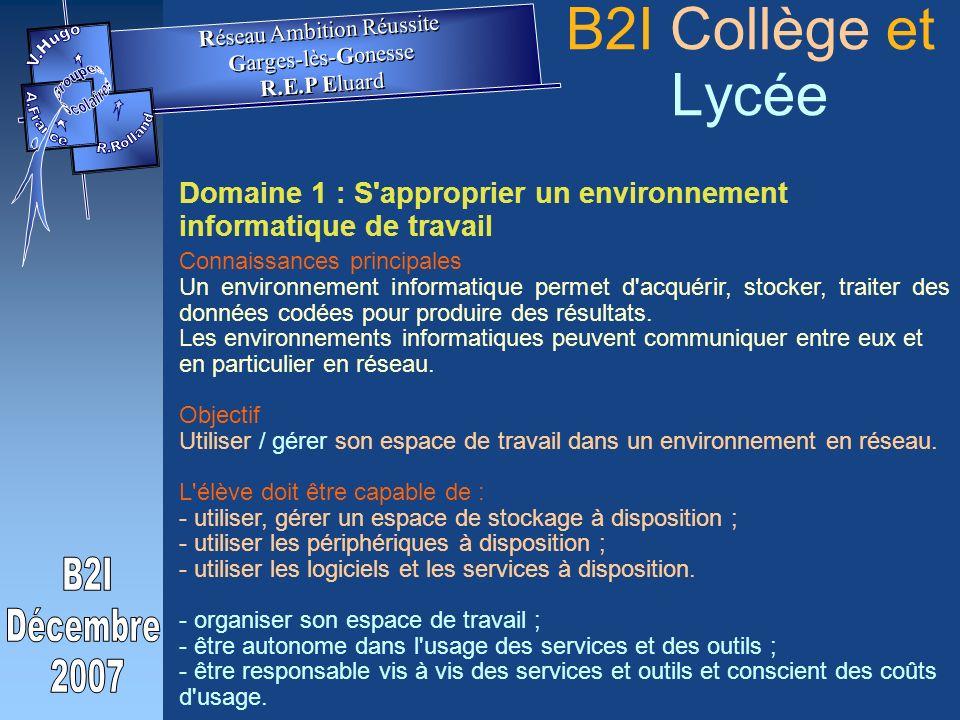 Domaine 1 : S approprier un environnement informatique de travail Connaissances principales Un environnement informatique permet d acquérir, stocker, traiter des données codées pour produire des résultats.