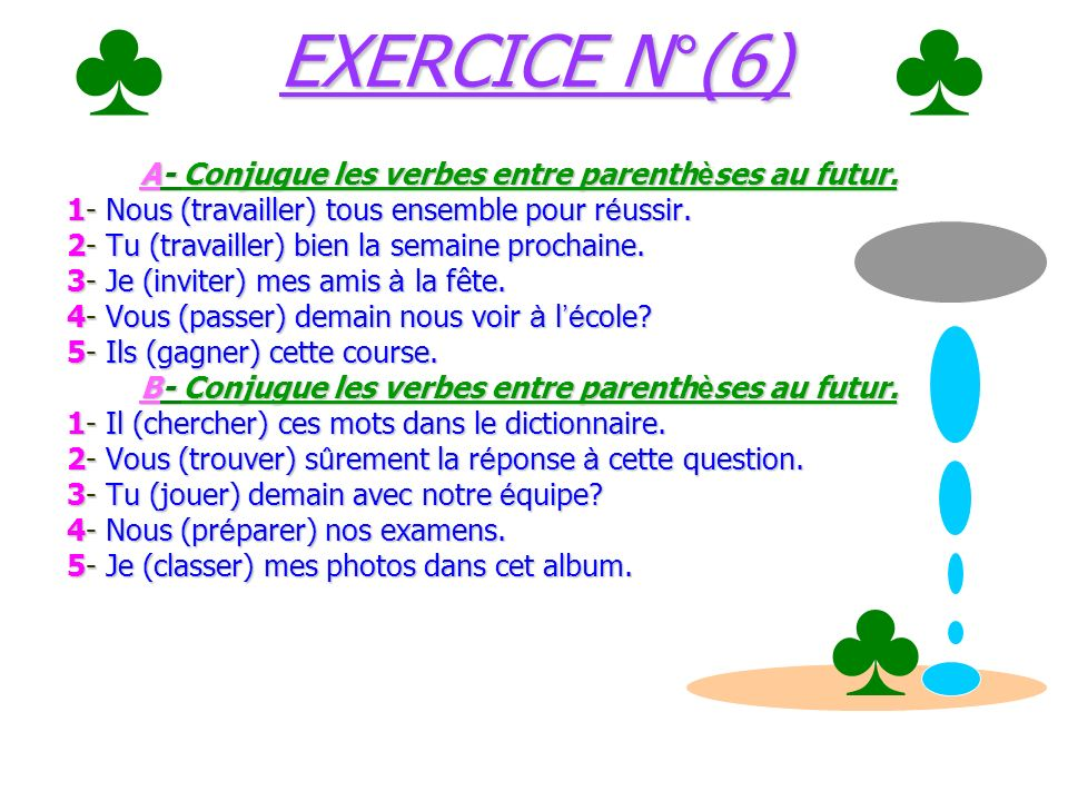 Le ç on N°(6) Le futur des verbes du 1 ier groupe/exemple: (travailler // chercher) Le ç on N°(6) Le futur des verbes du 1 ier groupe/exemple: (travai