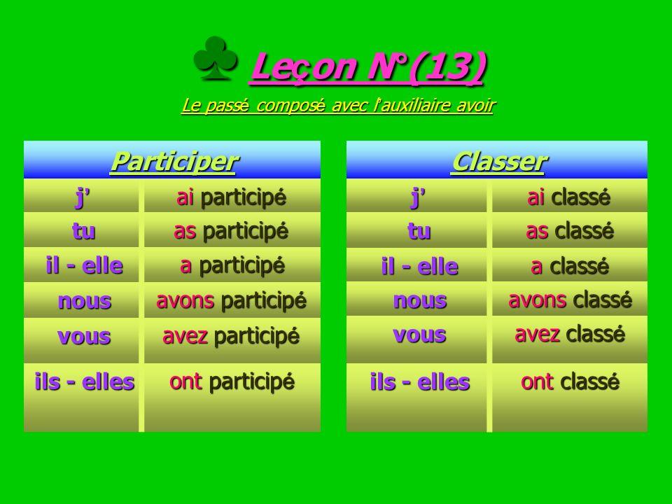 EXERCICE N°(12) Conjugue les verbes entre parenth è ses au pass é compos é EXERCICE N°(12) Conjugue les verbes entre parenth è ses au pass é compos é