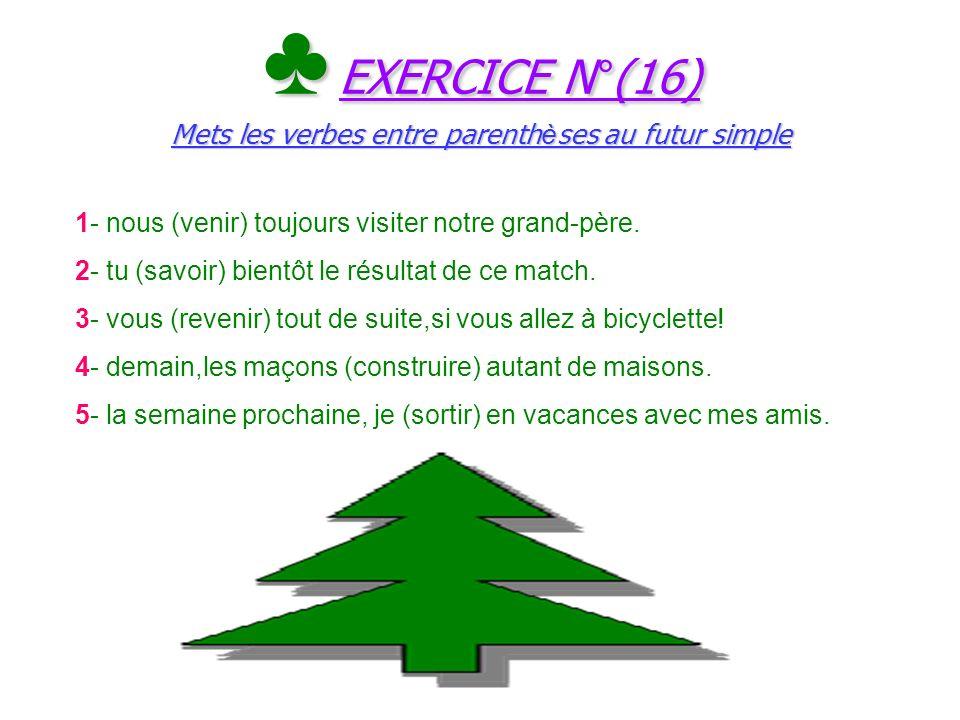 Le ç on N°(16) Les verbes du 3 e groupe au futur simple Le ç on N°(16) Les verbes du 3 e groupe au futur simple ConstruireSavoirPouvoirVenir Construir