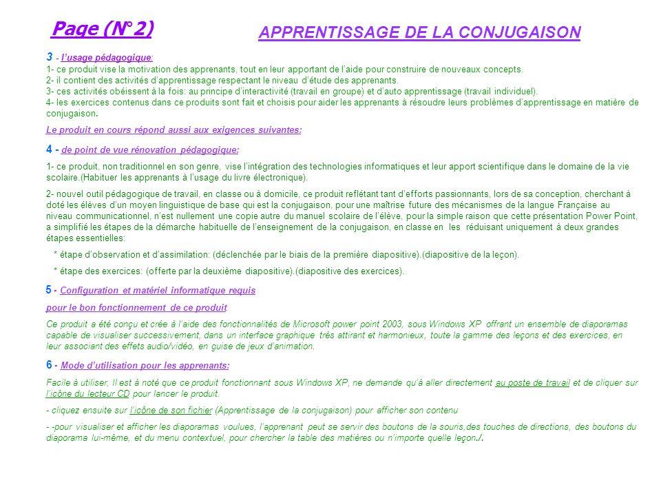Page (N°1) Titre du produit: APPRENTISSAGE DE LA CONJUGAISON ( pour les é l è ves de la 4 e A.E.P ) Page (N°1) Titre du produit: APPRENTISSAGE DE LA C
