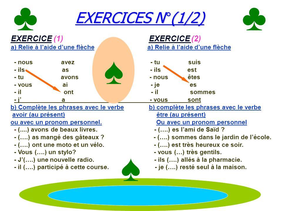 EXERCICES N°(1/2) EXERCICES N°(1/2) EXERCICE (1) EXERCICE (2) a) Relie à laide dune flèche - nous avez - tu suis - ils as - ils est - tu avons - nous êtes - vous ai - je es - il ont - il sommes - j a - vous sont b) Complète les phrases avec le verbe b) complète les phrases avec le verbe avoir (au présent) être (au présent) ou avec un pronom personnel.
