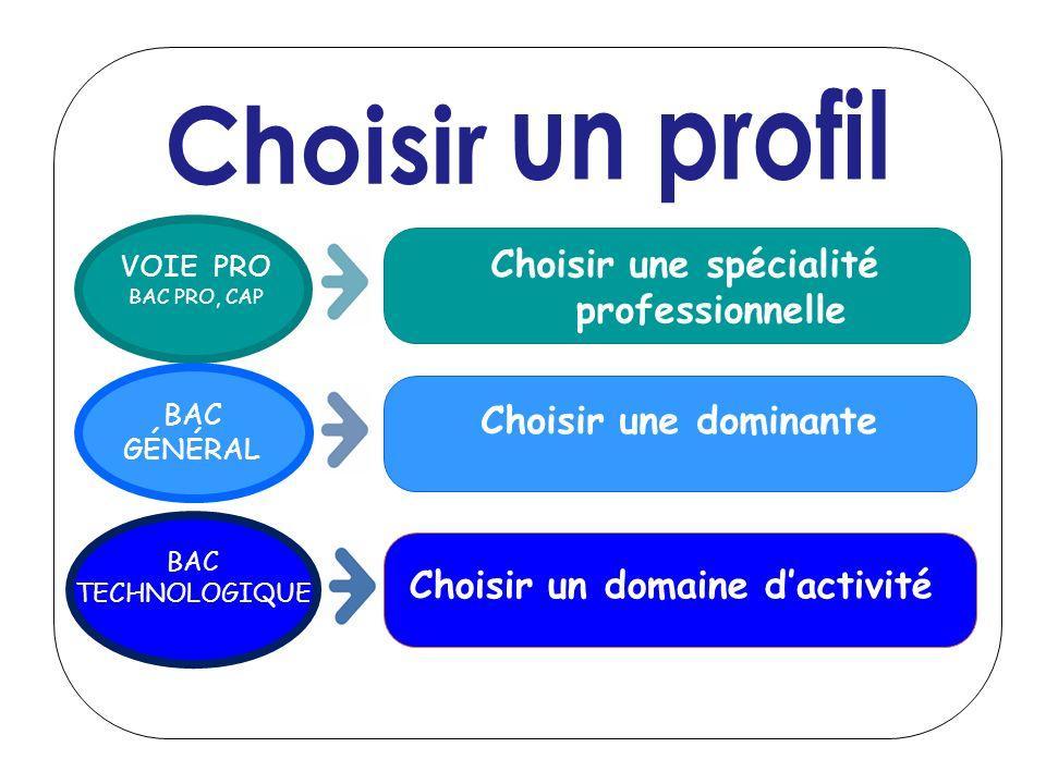 VOIE PRO BAC PRO, CAP Choisir une spécialité professionnelle Choisir une dominante BAC GÉNÉRAL Choisir un domaine dactivité BAC TECHNOLOGIQUE