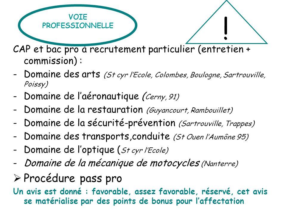 CAP et bac pro à recrutement particulier (entretien + commission) : -Domaine des arts (St cyr lEcole, Colombes, Boulogne, Sartrouville, Poissy) -Domai
