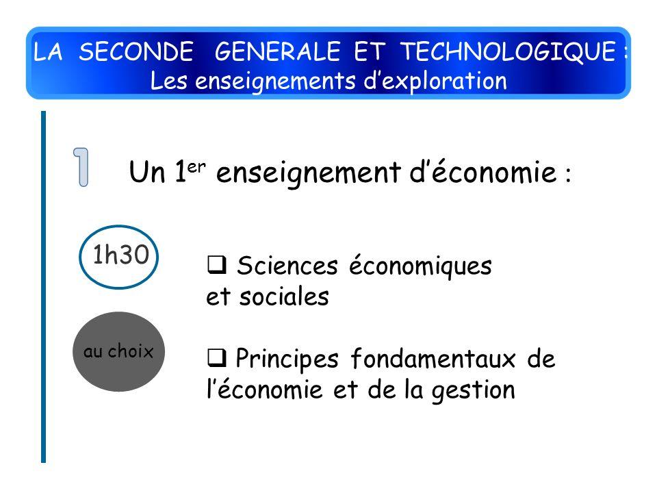au choix 1h30 Un 1 er enseignement déconomie : Sciences économiques et sociales Principes fondamentaux de léconomie et de la gestion LA SECONDE GENERA