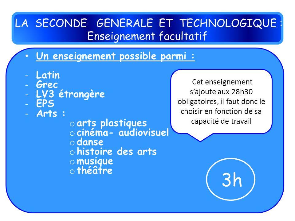 Un enseignement possible parmi : - Latin - Grec - LV3 étrangère - EPS - Arts : o arts plastiques o cinéma- audiovisuel o danse o histoire des arts o m