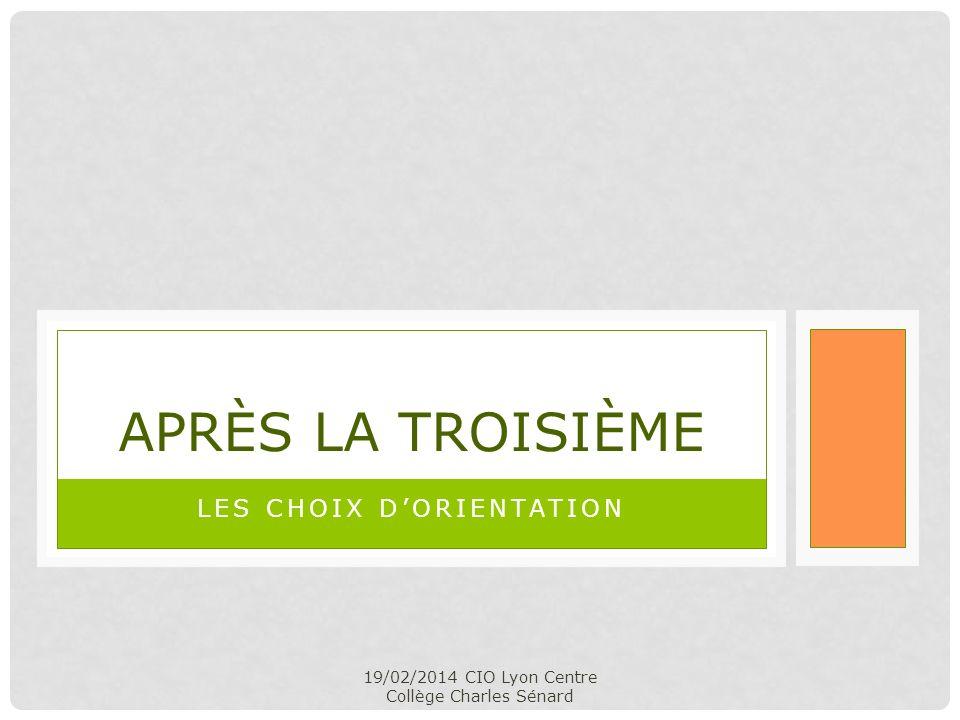 19/02/2014 CIO Lyon Centre Collège Charles Sénard LES CHOIX DORIENTATION APRÈS LA TROISIÈME