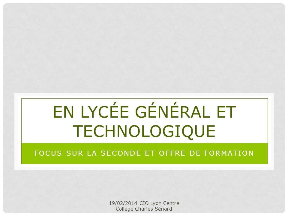 19/02/2014 CIO Lyon Centre Collège Charles Sénard EN LYCÉE GÉNÉRAL ET TECHNOLOGIQUE FOCUS SUR LA SECONDE ET OFFRE DE FORMATION