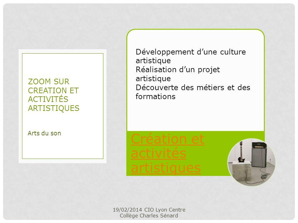 Création et activités artistiques 19/02/2014 CIO Lyon Centre Collège Charles Sénard Arts du son ZOOM SUR CREATION ET ACTIVITÉS ARTISTIQUES Développeme