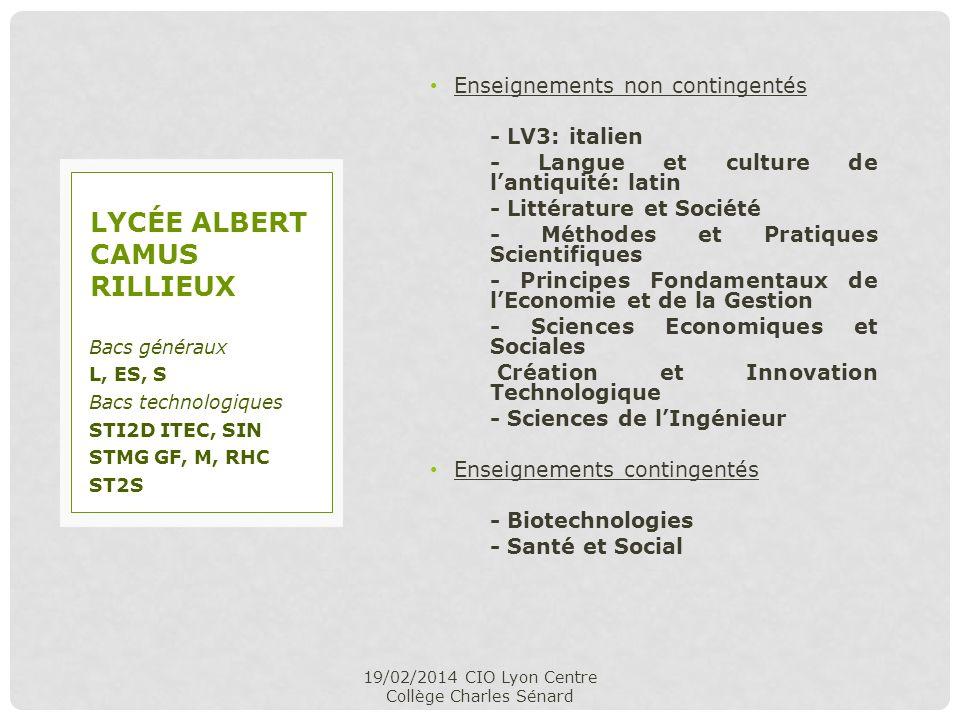 Enseignements non contingentés - LV3: italien - Langue et culture de lantiquité: latin - Littérature et Société - Méthodes et Pratiques Scientifiques