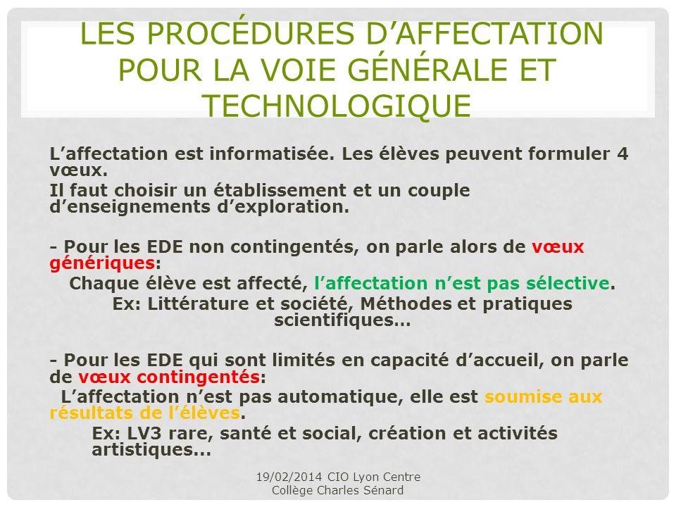 LES PROCÉDURES DAFFECTATION POUR LA VOIE GÉNÉRALE ET TECHNOLOGIQUE Laffectation est informatisée. Les élèves peuvent formuler 4 vœux. Il faut choisir