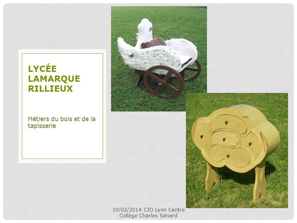 19/02/2014 CIO Lyon Centre Collège Charles Sénard Métiers du bois et de la tapisserie LYCÉE LAMARQUE RILLIEUX
