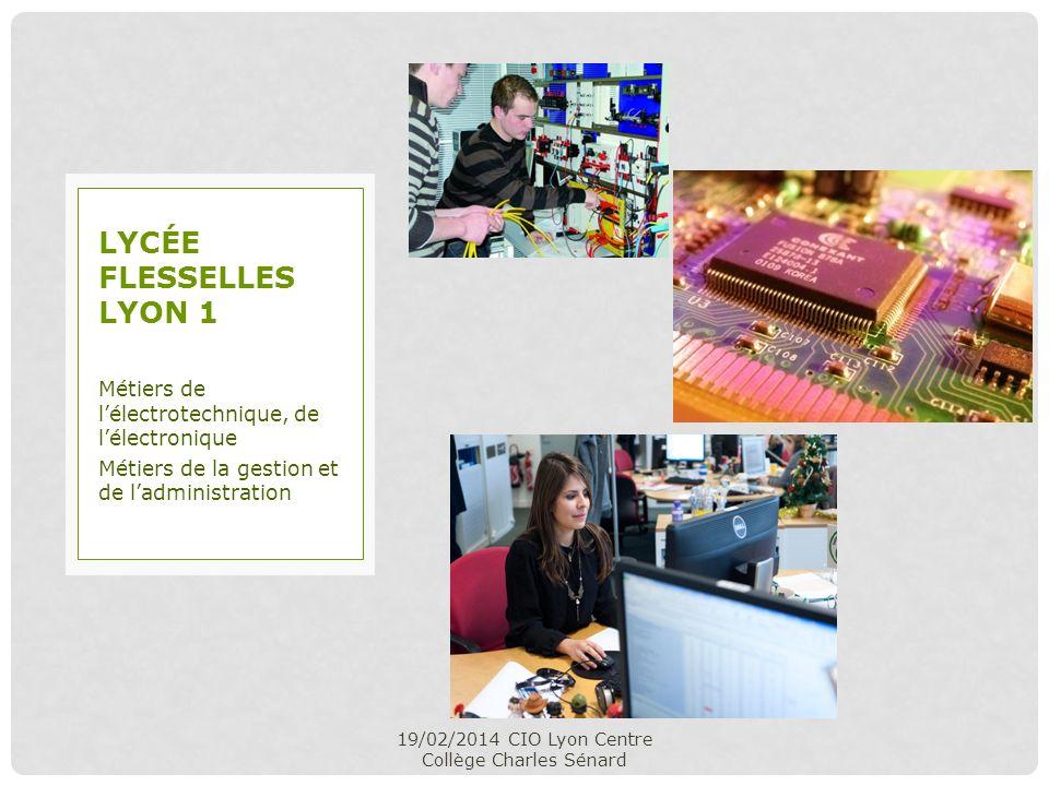 19/02/2014 CIO Lyon Centre Collège Charles Sénard Métiers de lélectrotechnique, de lélectronique Métiers de la gestion et de ladministration LYCÉE FLE