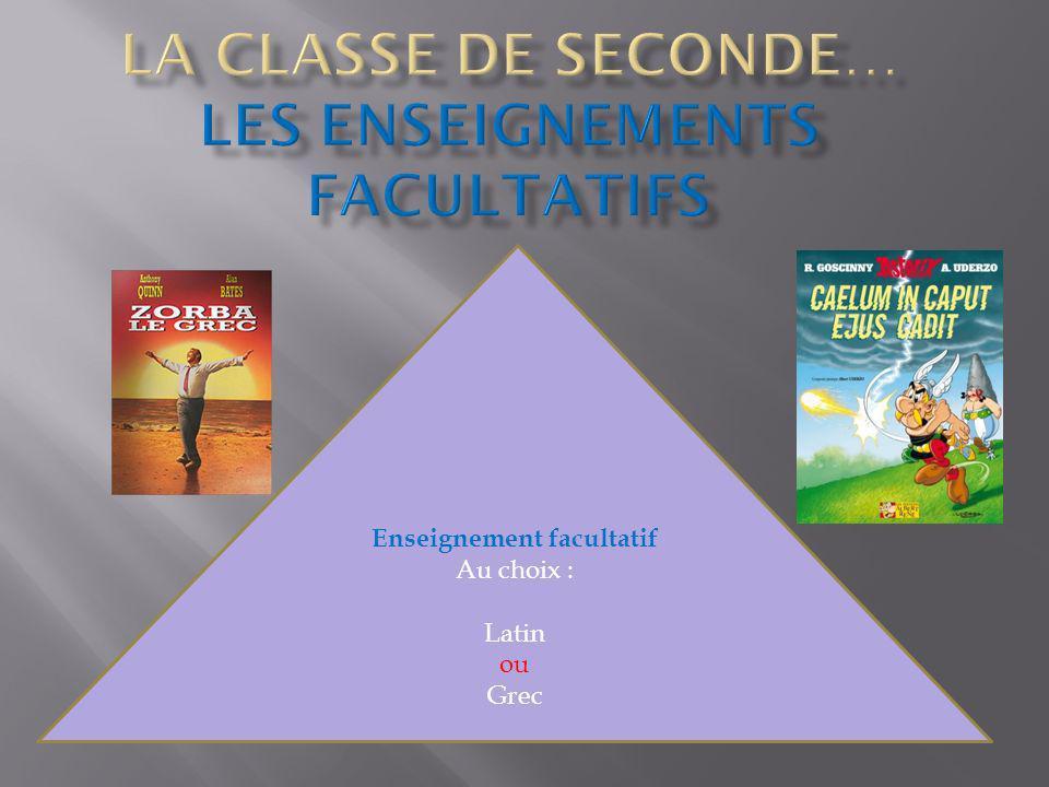 Enseignement facultatif Au choix : Latin ou Grec