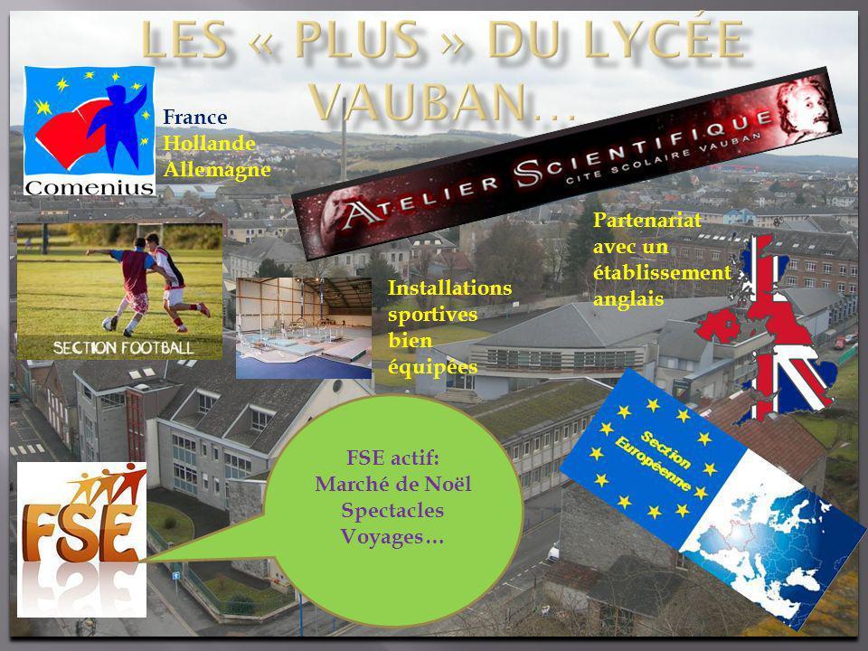 Partenariat avec un établissement anglais France Hollande Allemagne Installations sportives bien équipées FSE actif: Marché de Noël Spectacles Voyages…