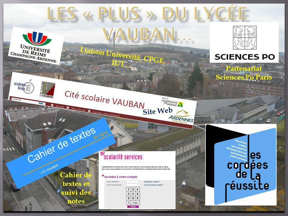 Site Web Cahier de textes et suivi des notes Partenariat Sciences Po Paris Liaison Université, CPGE, IUT…