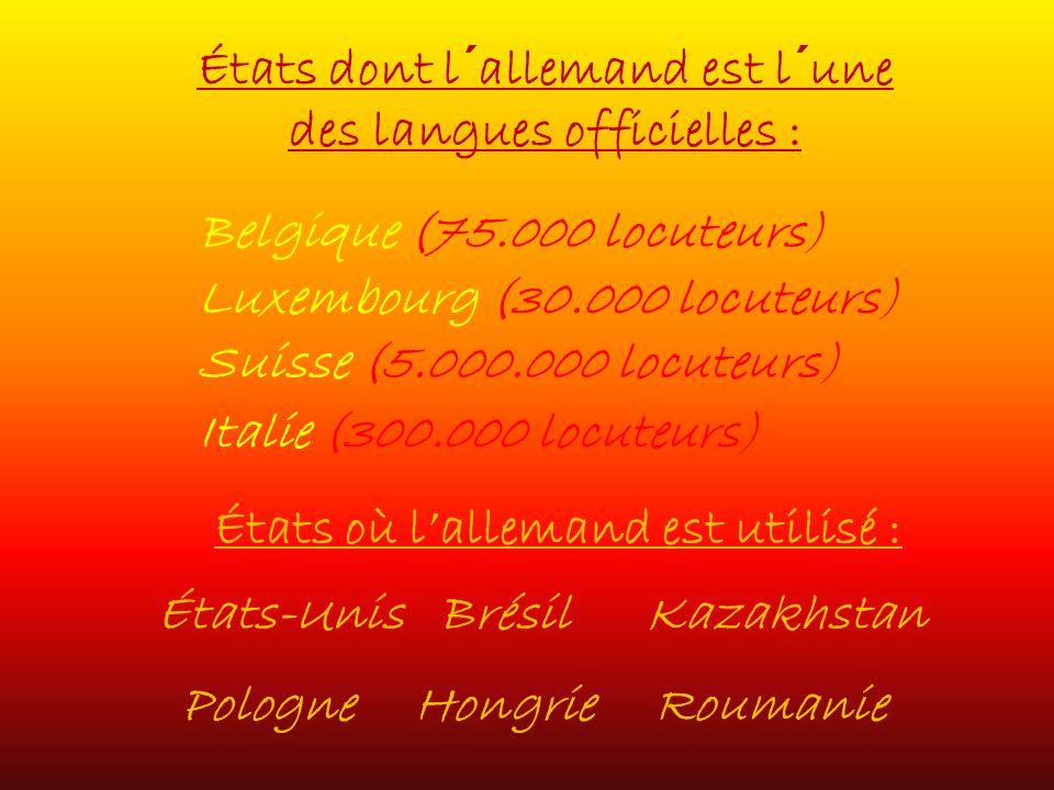 États dont l´allemand est l´une des langues officielles : États où lallemand est utilisé : Italie (300.000 locuteurs) Belgique (75.000 locuteurs) Luxembourg (30.000 locuteurs) Suisse (5.000.000 locuteurs) États-UnisBrésilKazakhstan Roumanie Hongrie Pologne