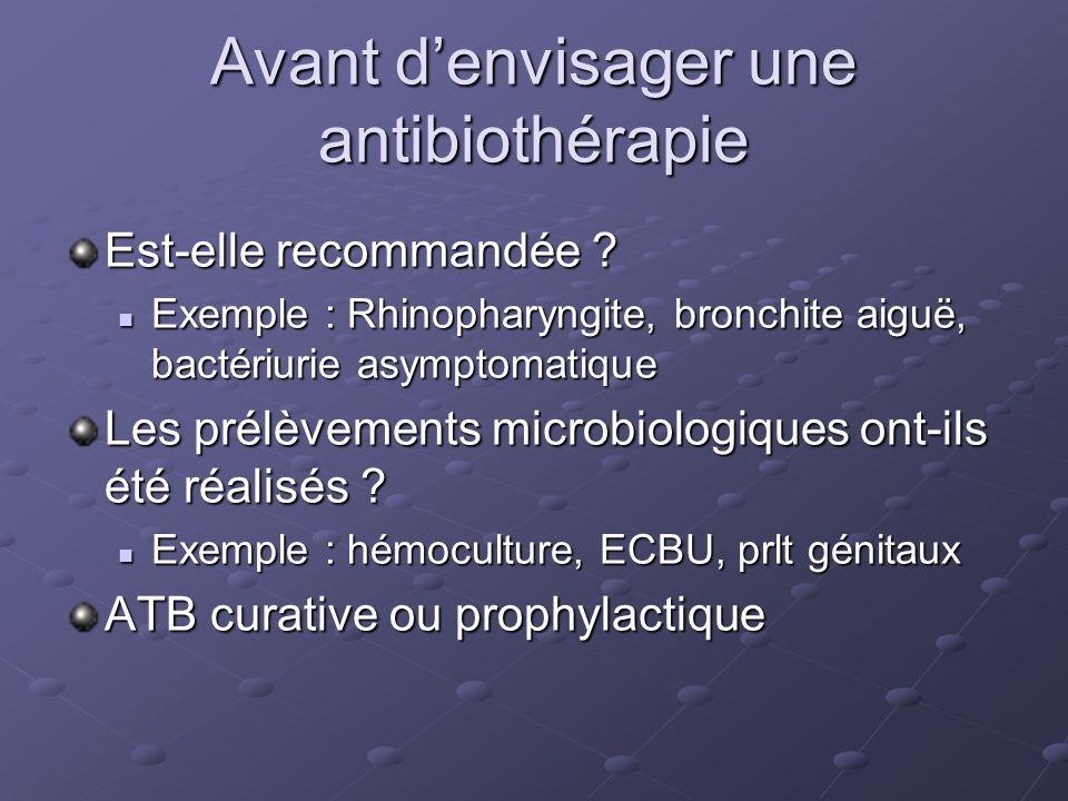 Avant denvisager une antibiothérapie Est-elle recommandée .