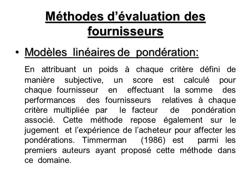 Méthodes dévaluation des fournisseurs Modèles linéaires de pondération:Modèles linéaires de pondération: En attribuant un poids à chaque critère défin