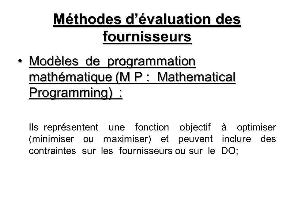 Méthodes dévaluation des fournisseurs Modèles de programmation mathématique (M P : Mathematical Programming) :Modèles de programmation mathématique (M