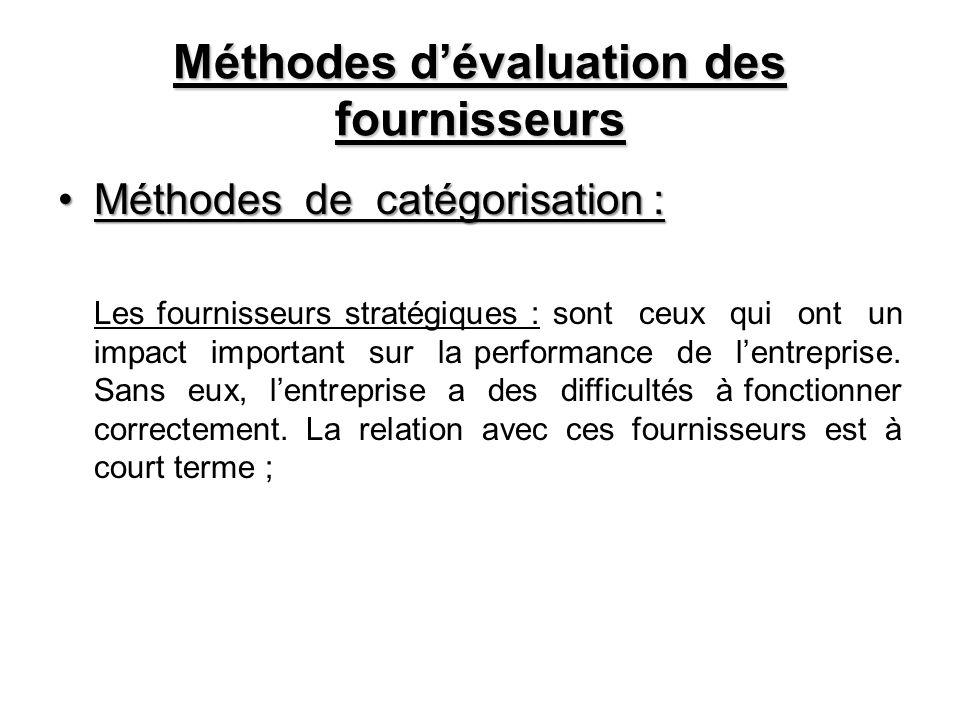 Méthodes dévaluation des fournisseurs Méthodes de catégorisation :Méthodes de catégorisation : Les fournisseurs stratégiques : sont ceux qui ont un im