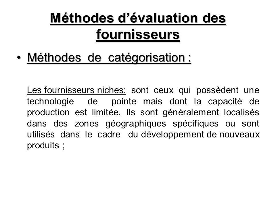 Méthodes dévaluation des fournisseurs Méthodes de catégorisation :Méthodes de catégorisation : Les fournisseurs niches: sont ceux qui possèdent une te