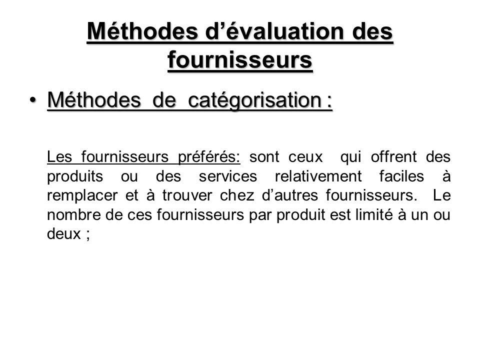 Méthodes dévaluation des fournisseurs Méthodes de catégorisation :Méthodes de catégorisation : Les fournisseurs préférés: sont ceux qui offrent des pr