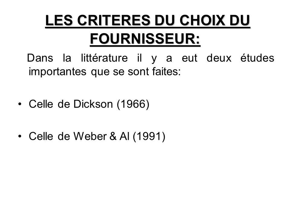 LES CRITERES DU CHOIX DU FOURNISSEUR: Dans la littérature il y a eut deux études importantes que se sont faites: Celle de Dickson (1966) Celle de Webe