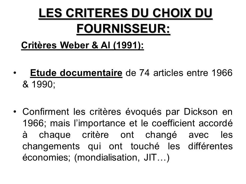 LES CRITERES DU CHOIX DU FOURNISSEUR: Critères Weber & Al (1991): Etude documentaire de 74 articles entre 1966 & 1990; Confirment les critères évoqués