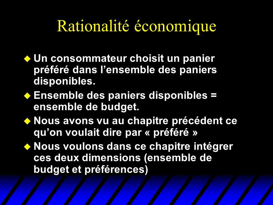 Rationalité économique u Un consommateur choisit un panier préféré dans lensemble des paniers disponibles. u Ensemble des paniers disponibles = ensemb