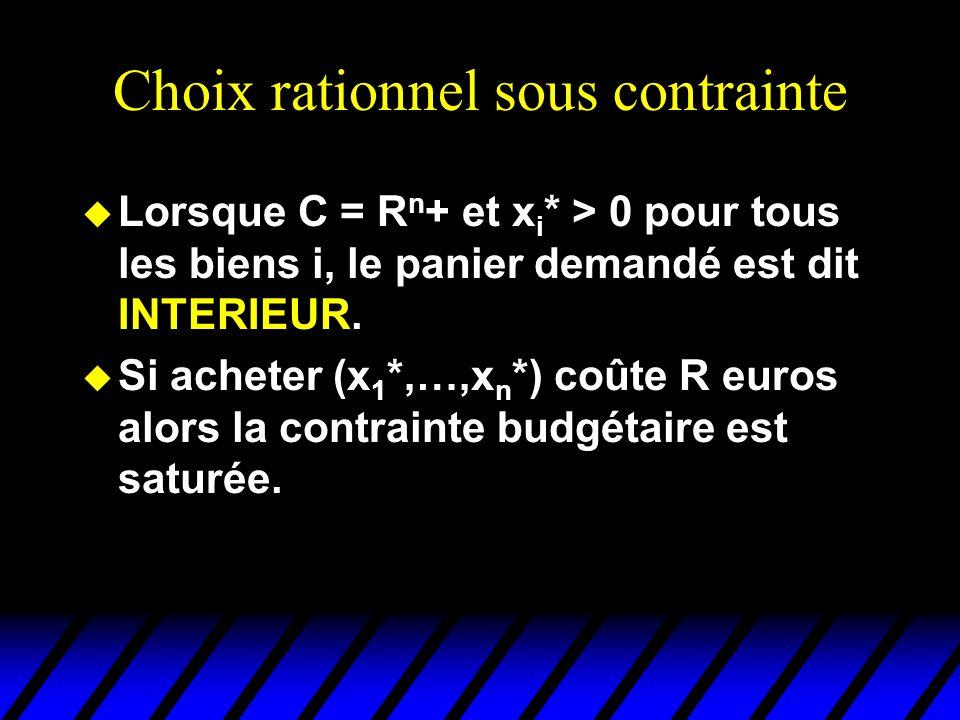 Choix rationnel sous contrainte u Lorsque C = R n + et x i * > 0 pour tous les biens i, le panier demandé est dit INTERIEUR. u Si acheter (x 1 *,…,x n