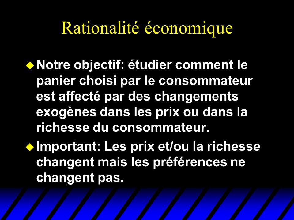 Rationalité économique u Notre objectif: étudier comment le panier choisi par le consommateur est affecté par des changements exogènes dans les prix o