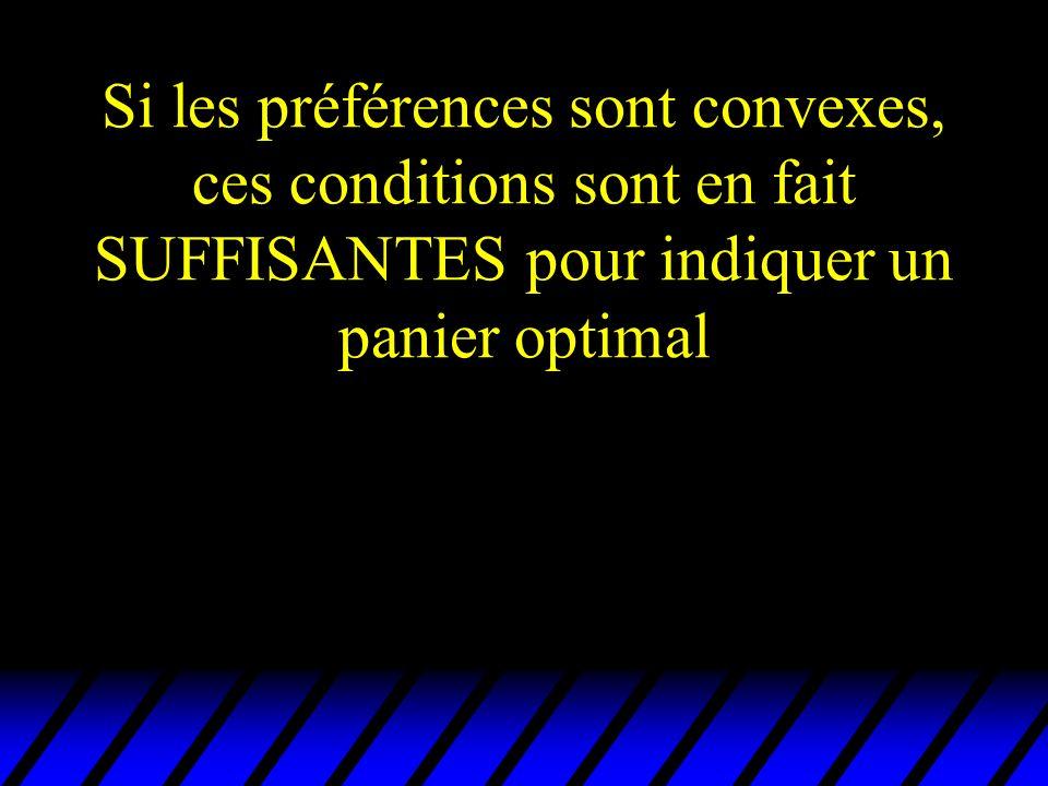 Si les préférences sont convexes, ces conditions sont en fait SUFFISANTES pour indiquer un panier optimal