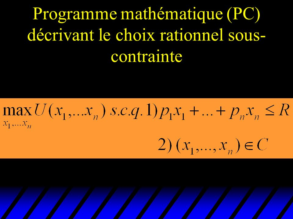 u Puisque la contrainte budgétaire est saturée (si les préférences sont localement non-saturables) on peut écrire u p 1 x 1 * +…+ p n x n * = R u x 1 * = (R - p 2 x 2 * -…- p n x n * )/p 1