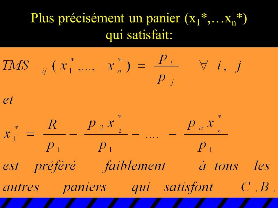 Plus précisément un panier (x 1 *,…x n *) qui satisfait: