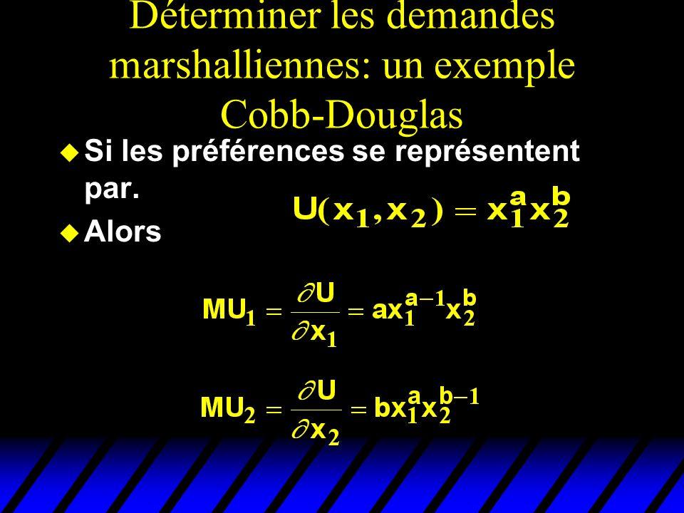 Déterminer les demandes marshalliennes: un exemple Cobb-Douglas u Si les préférences se représentent par. u Alors