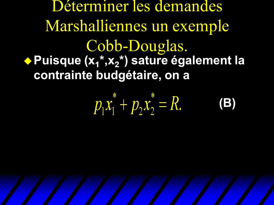 Déterminer les demandes Marshalliennes un exemple Cobb-Douglas. u Puisque (x 1 *,x 2 *) sature également la contrainte budgétaire, on a (B)