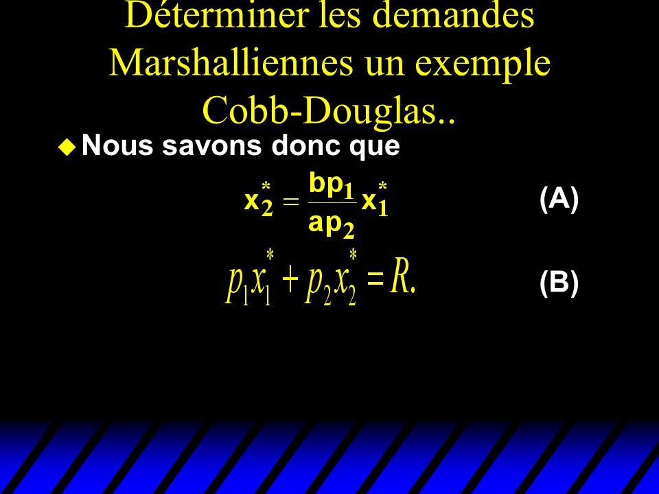 Déterminer les demandes Marshalliennes un exemple Cobb-Douglas.. u Nous savons donc que (A) (B)