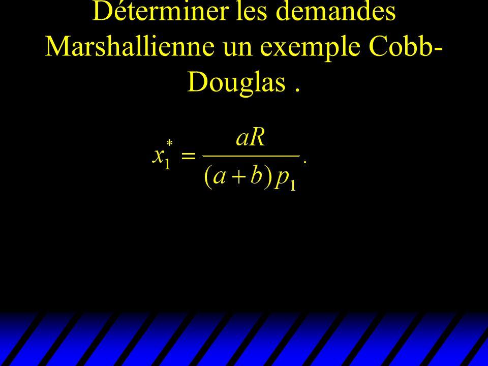 Déterminer les demandes Marshallienne un exemple Cobb- Douglas.