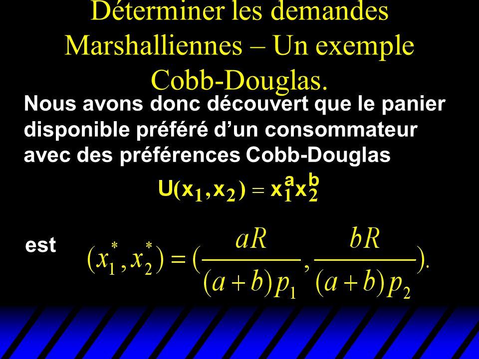 Déterminer les demandes Marshalliennes – Un exemple Cobb-Douglas. Nous avons donc découvert que le panier disponible préféré dun consommateur avec des