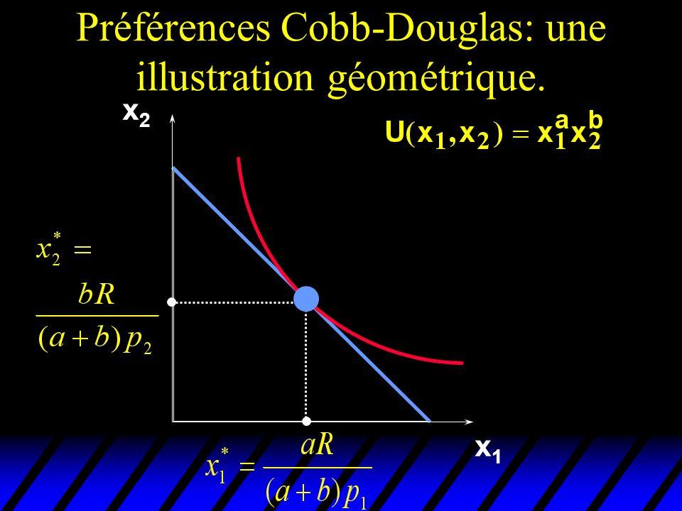 Préférences Cobb-Douglas: une illustration géométrique. x1x1 x2x2