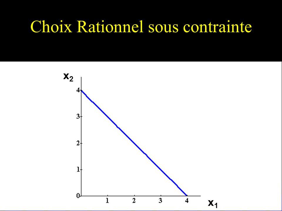 Autre exemple de solution de coin– des préférences non-convexes x1x1 x2x2 Le panier disponible préféré Notons que la condition (de 1er ordre) TMS = p 1 /p 2 ne caractérise pas le panier disponible préféré ici.